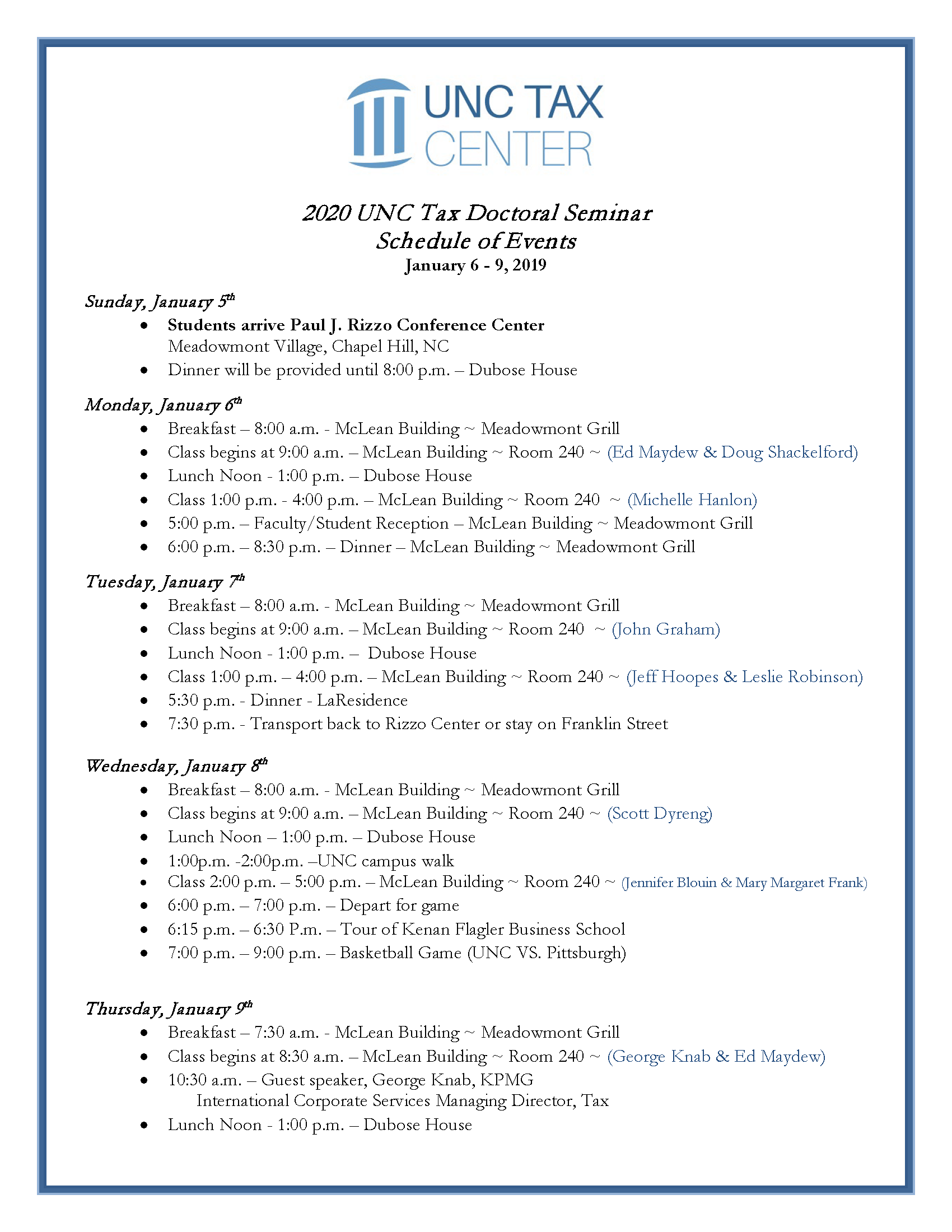 Tax Doctoral Seminar Schedule of Events